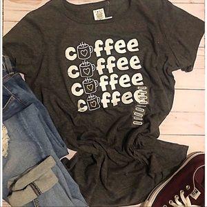Tops - Coffee coffee coffee coffee graphic tee shirt